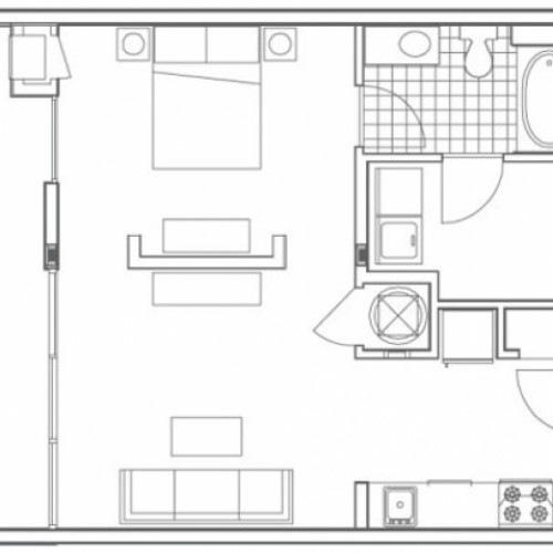A3 Techwood Floor Plan | 1 Bedroom with 1 Bath | 720 Square Feet | 935M | Apartment Homes