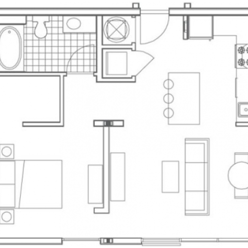 A2 Huff 1 Bedroom Apartment Floorplan at 935M