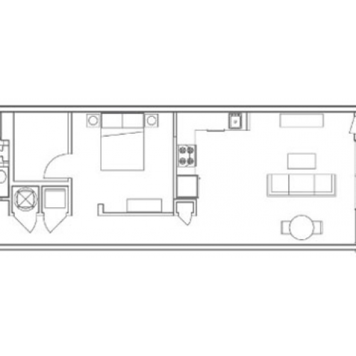 A6 Echo 1 Bedroom Apartment Floorplan at 935M