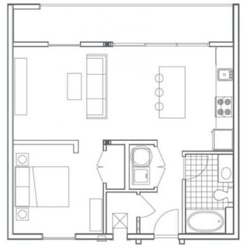 A4 Pelham 1 Bedroom Apartment Floorplan at 935M
