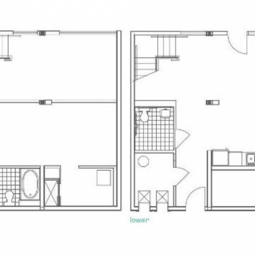 W11 Defoors Alternate Floor Plan | 1 Bedroom with 2 Bath | 990 Square Feet | 935M | Apartment Homes