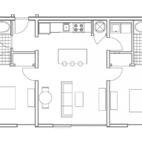B2 Oliver 2 Bedroom Apartment Floorplan at 935M