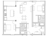 Image of the B5 Turner floorplan, an open concept 2 bedroom, 2 bathroom apartment at 935M