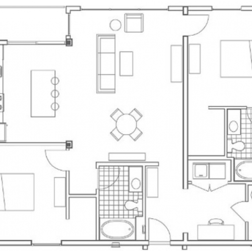B5 Turner 2 Bedroom Apartment Floorplan at 935M