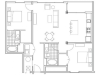 Image of the B5.1 Turner Alternate floorplan, an open concept 2 bedroom, 2 bathroom apartment at 935M