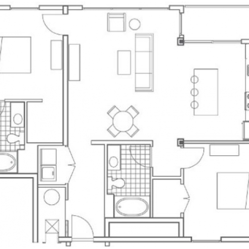 B5.1 Turner Alternate Floor Plan | 2 Bedroom with 2 Bath | 1205 Square Feet | 935M | Apartment Homes