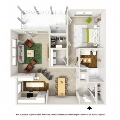 Lily Floor Plan | 1 Bedroom with 1 Bath | 792 Square Feet | Summer Park | Apartment Homes