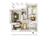 Lily with Sunroom Floor Plan | 1 Bedroom with 1 Bath | 877 Square Feet | Summer Park | Apartment Homes