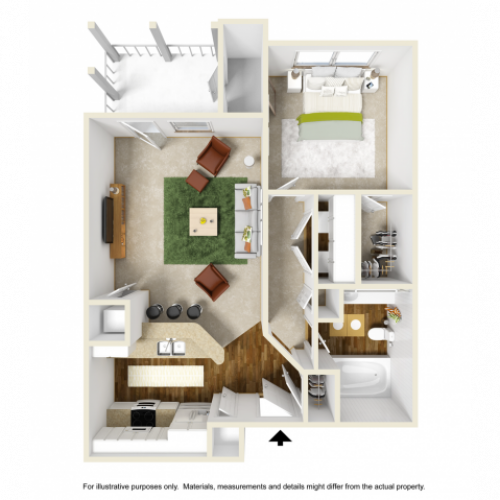 Iris Renovated Floor Plan | 1 Bedroom with 1 Bath | 676 Square Feet | Summer Park | Apartment Homes