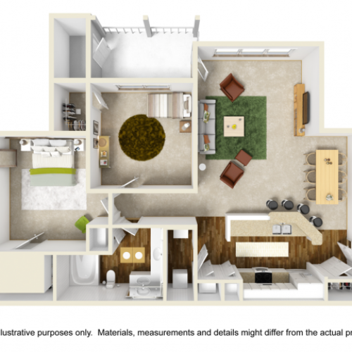 Laurel Floor Plan | 2 Bedroom with 1 Bath | 1053 Square Feet | Summer Park | Apartment Homes