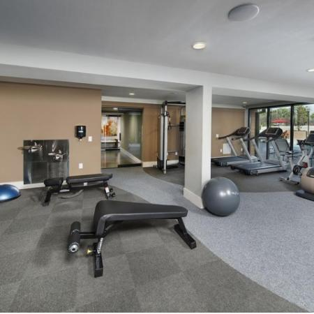 View of Fitness Center, Showing Cardio Machines, Free Weights, Benches, and Exercise Balls at Cottonwood Westside Apartments