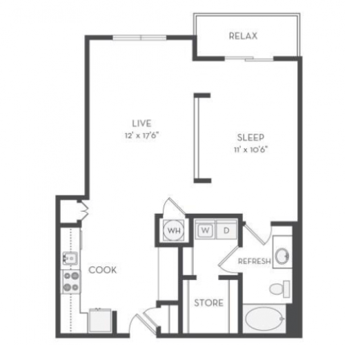 The Matisse Floor Plan | 1 Bedroom with 1 Bath | 858 Square Feet | Cottonwood Westside | Apartment Homes