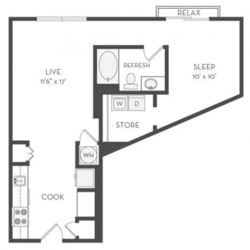 The Diesel Floor Plan | 1 Bedroom with 1 Bath | 735 Square Feet | Cottonwood Westside | Apartment Homes