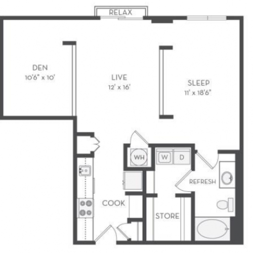 The Morse Floor Plan | 1 Bedroom with 1 Bath | 903 Square Feet | Cottonwood Westside | Apartment Homes