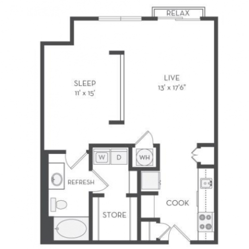 The Watt Floor Plan | 1 Bedroom with 1 Bath | 780 Square Feet | Cottonwood Westside | Apartment Homes