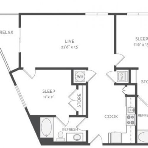 The Kandinsky Floor Plan | 2 Bedroom with 2 Bath | 1133 Square Feet | Cottonwood Westside | Apartment Homes