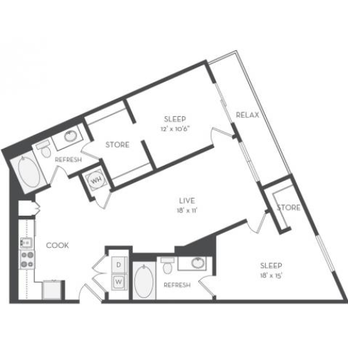 The Kupka Floor Plan | 2 Bedroom with 2 Bath | 1128 Square Feet | Cottonwood Westside | Apartment Homes
