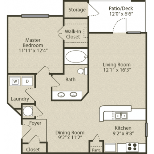 Grant with Garage Floor Plan | 1 Bedroom with 1 Bath | 843 Square Feet | Retreat at Peachtree City | Apartment Homes