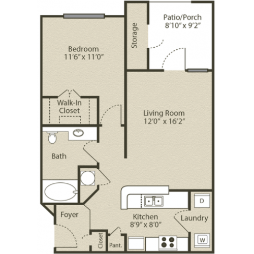 Image of the Piedmont floorplan, an open concept 1 bedroom, 1 bathroom apartment at Retreat at Peachtree City