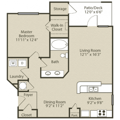 Image of the Grant Renovated floorplan, an open concept 1 bedroom, 1 bathroom apartment at Retreat at Peachtree City