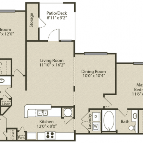 Chastain with Garage Floor Plan | 2 Bedroom with 2 Bath | 1140 Square Feet | Retreat at Peachtree City | Apartment Homes