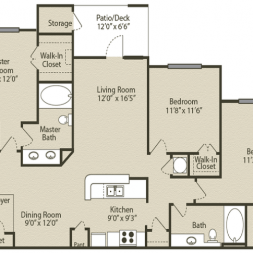 Image of the Woodruff floorplan, an open concept 3 bedroom, 2 bathroom apartment at Retreat at Peachtree City