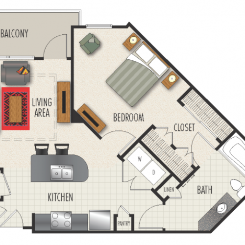 1C Floor Plan | 1 Bedroom with 1 Bath | 767 Square Feet | Heights at Meridian | Apartment Homes