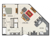 1D Floor Plan | 1 Bedroom with 1 Bath | 901 Square Feet | Heights at Meridian | Apartment Homes