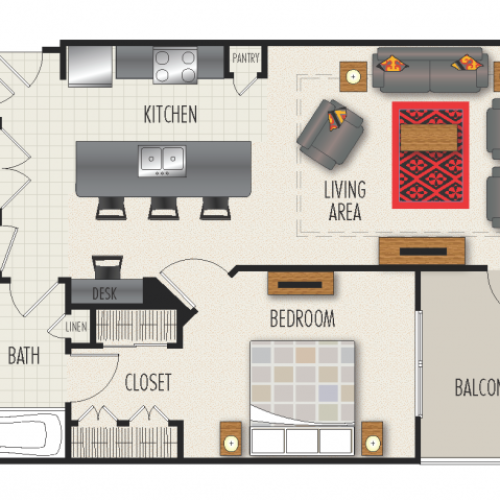 1E Floor Plan | 1 Bedroom with 1 Bath | 907 Square Feet | Heights at Meridian | Apartment Homes