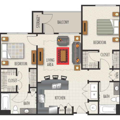 2A Floor Plan | 2 Bedroom with 2 Bath | 1143 Square Feet | Heights at Meridian | Apartment Homes