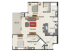 2B Floor Plan | 2 Bedroom with 2 Bath | 1202 Square Feet | Heights at Meridian | Apartment Homes