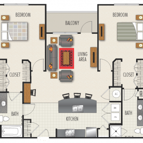 2C Floor Plan | 2 Bedroom with 2 Bath | 1298 Square Feet | Heights at Meridian | Apartment Homes