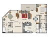 3A Floor Plan | 3 Bedroom with 2 Bath | 1430 Square Feet | Heights at Meridian | Apartment Homes