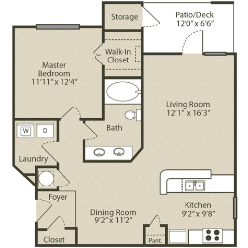 Image of the Grant with Sunroom floorplan, an open concept 1 bedroom, 1 bathroom apartment at Retreat at Peachtree City