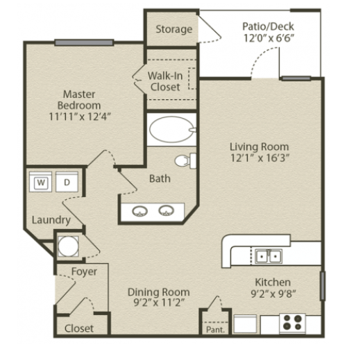 Image of the Grant with Sunroom Renovated floorplan, an open concept 1 bedroom, 1 bathroom apartment at Retreat at Peachtree City
