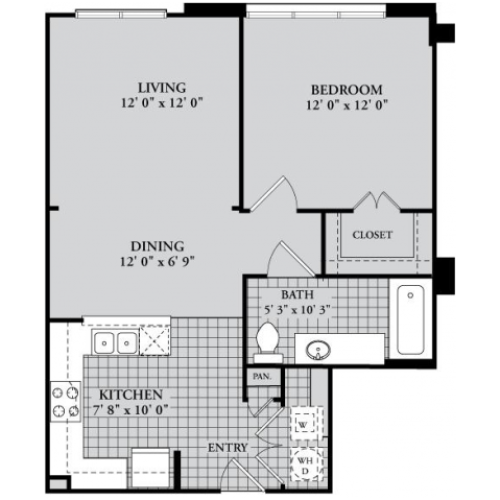 A2 Floor Plan | 1 Bedroom with 1 Bath | 720 Square Feet | McKinney Uptown | Apartment Homes