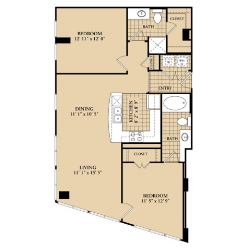 B1 Floor Plan | 2 Bedroom with 2 Bath | 1034 Square Feet | McKinney Uptown | Apartment Homes