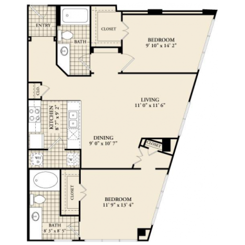 B3 Floor Plan | 2 Bedroom with 2 Bath | 1086 Square Feet | McKinney Uptown | Apartment Homes