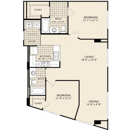 B4 Floor Plan | 2 Bedroom with 2 Bath | 1102 Square Feet | McKinney Uptown | Apartment Homes