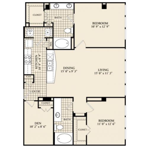 B8 Floor Plan | 2 Bedroom with 2 Bath | 1254 Square Feet | McKinney Uptown | Apartment Homes