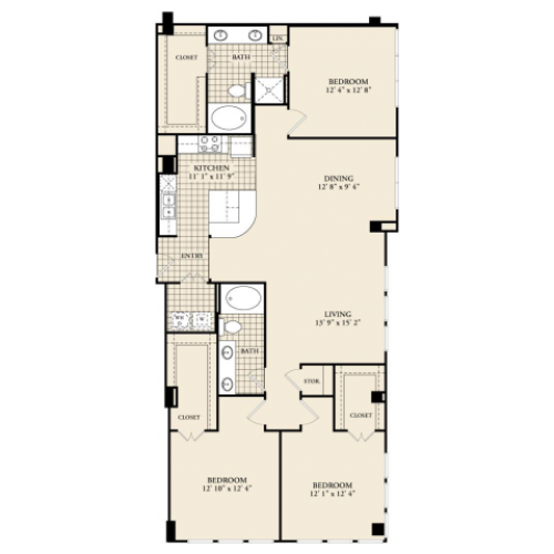 C1 Floor Plan | 3 Bedroom with 2 Bath | 1632 Square Feet | McKinney Uptown | Apartment Homes