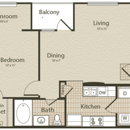 The Mediterranean Floor Plan | 1 Bedroom with 1 Bath | 689 Square Feet | Enclave on Golden Triangle | Apartment Homes