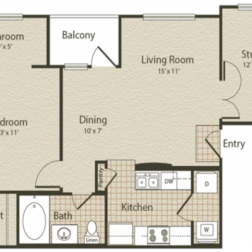 The Oriental Floor Plan | 1 Bedroom with 1 Bath | 771 Square Feet | Enclave on Golden Triangle | Apartment Homes