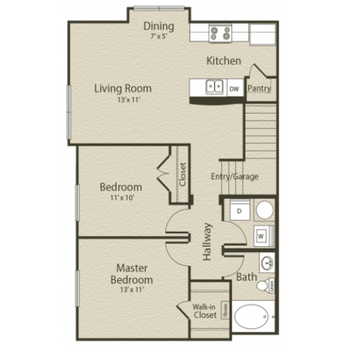 The Virginia Floor Plan | 2 Bedroom with 1 Bath | 918 Square Feet | Enclave on Golden Triangle | Apartment Homes