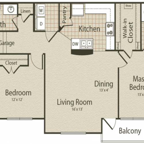 The Atlantic Floor Plan | 2 Bedroom with 2 Bath | 1084 Square Feet | Enclave on Golden Triangle | Apartment Homes