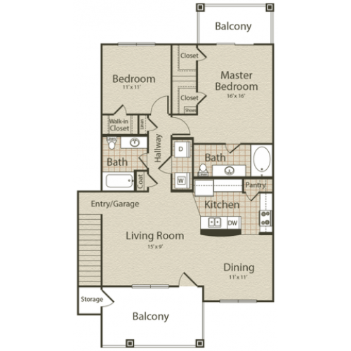 The Pacific Floor Plan | 2 Bedroom with 2 Bath | 1193 Square Feet | Enclave on Golden Triangle | Apartment Homes