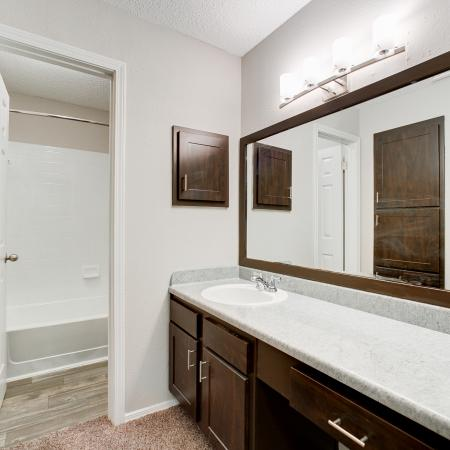 View of Bathroom, Showing Single Vanity and View of Bathtub at The Arbors of Las Colinas Apartments