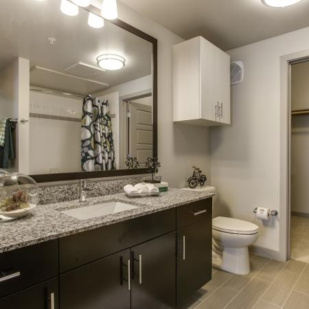 View of Bathroom, Showing Single Vanity, Granite Counter Top, and View of Closet at Routh Street Flats Apartments
