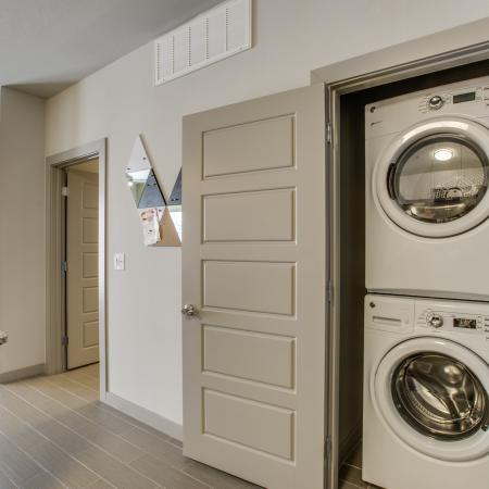 View of Laundry Closet, Showing Washer and Dryer at Routh Street Flats Apartments