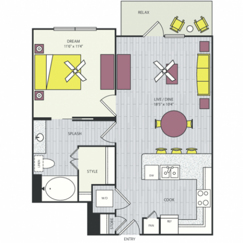 A9a Floor Plan | 1 Bedroom with 1 Bath | 809 Square Feet | Routh Street Flats | Apartment Homes